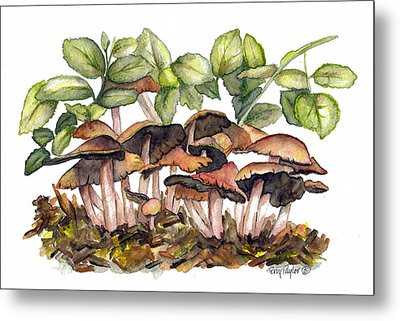 Metal Print featuring the painting Mushroom Forest by Terry Taylor