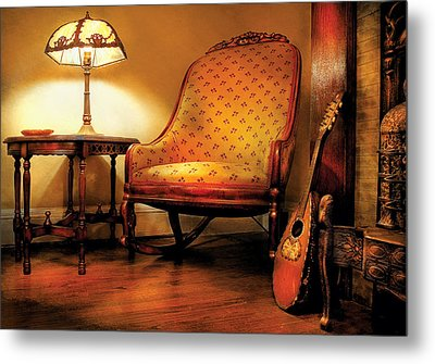 Music - String - The Chair And The Lute Metal Print by Mike Savad