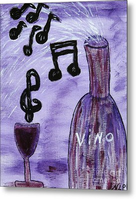 Music In My Glass Metal Print