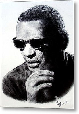 Music Legend Ray Charles Metal Print by Jim Fitzpatrick