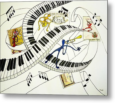 Musical Happy People With Wine Metal Print by Glenn Calloway