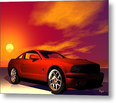 Metal Print featuring the digital art Mustang Gt by John Pangia