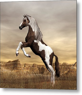 Metal Print featuring the digital art Mustang by Walter Colvin