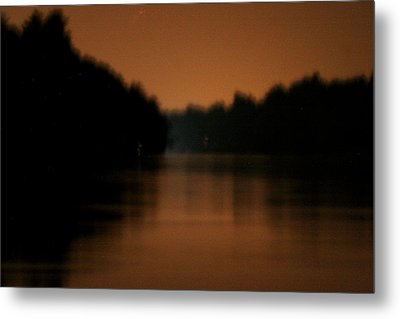Muted River Moon Shine Metal Print by Artist Orange