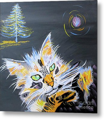 My Calico Cat Wizard Metal Print by Phyllis Kaltenbach