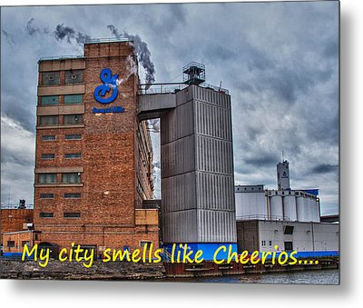 My City Smells Like Cheerios Metal Print by Guy Whiteley