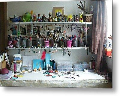 My Desk On A Slow Day Brooklyn Alien Art Metal Print by Kristi L Randall