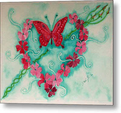 Metal Print featuring the painting My Heart Has Been Pierced By Love by Debi Singer