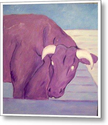 My Purple Cow Metal Print by Sue Prideaux
