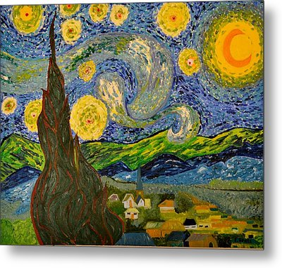 My Starry Night Inspired By The Master Vincent Van Gogh Metal Print by Evelyn SPATZ