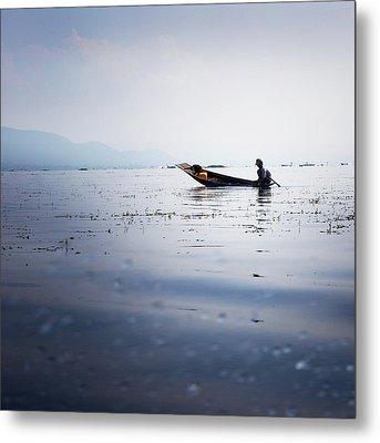 Myanmar Fisherman Metal Print