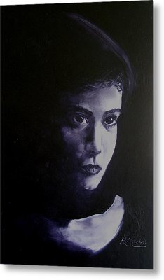 Mystery Woman In Scarf Metal Print by Raynette Mitchell