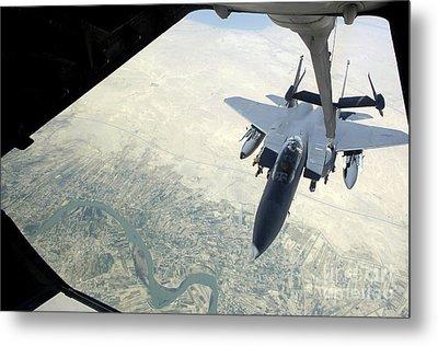 N F-15e Strike Eagle Receives Fuel Metal Print by Stocktrek Images