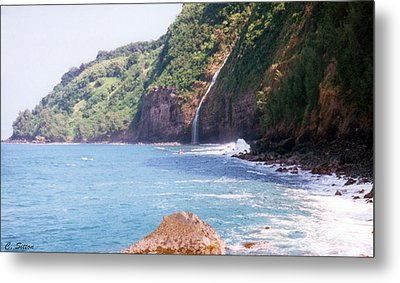 Na Pali Coast Waterfall Metal Print by C Sitton