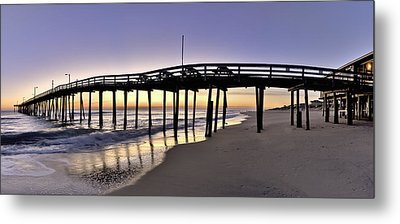 Nags Head Fishing Pier At Sunrise - Outer Banks Scenic Photography Metal Print by Rob Travis