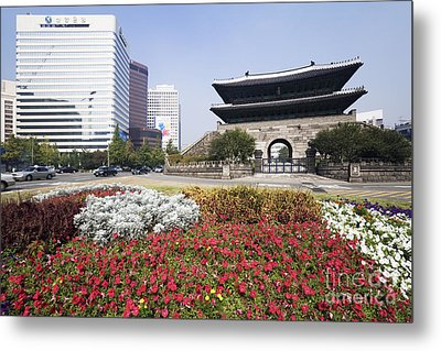 Namdaemun Gate With Flowers In Foreground Metal Print by Jeremy Woodhouse