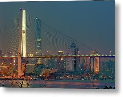 Nanpu Bridges At Sunset In Shanghai Metal Print by Blackstation