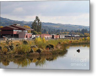 Napa River In Napa California Wine Country Metal Print by Wingsdomain Art and Photography