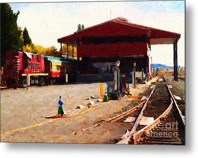 Napa Wine Train At The Napa Valley Railroad Station Metal Print by Wingsdomain Art and Photography