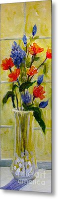 Metal Print featuring the painting Narrow Window Flowers by Gretchen Allen