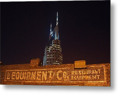 Nashville Downtown Night Scene Metal Print by Douglas Barnett