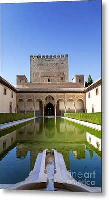 Nasrid Palace From Fish Pond Metal Print by Jane Rix