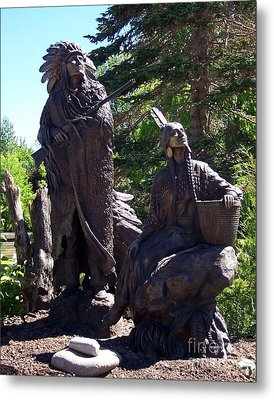 Metal Print featuring the photograph Native American Statue by Chalet Roome-Rigdon