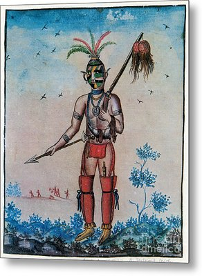 Native American With Scalps Mid-18th C Metal Print by Photo Researchers