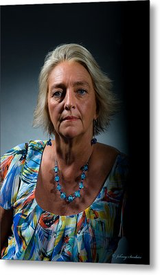 Native American Woman Metal Print by Johnny Sandaire