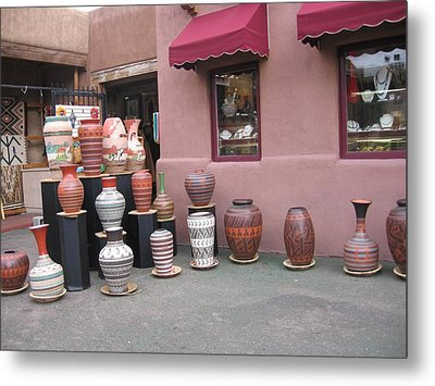 Metal Print featuring the photograph Native Jars And Vases Market by Dora Sofia Caputo Photographic Art and Design