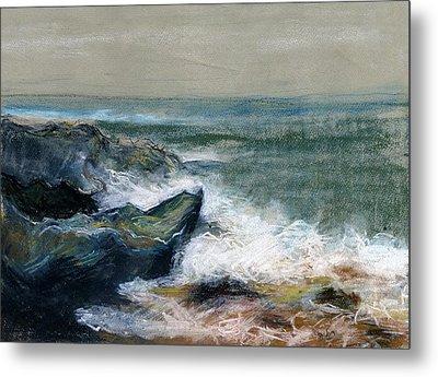 Nature Beach Landscape Of Sea In Storm Blue Green Water White Wave Breaks On Rock Clouds In Sky  Metal Print by Rachel Hershkovitz
