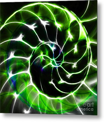 Nautilus Shell Ying And Yang - Electric - V1 - Green Metal Print by Wingsdomain Art and Photography