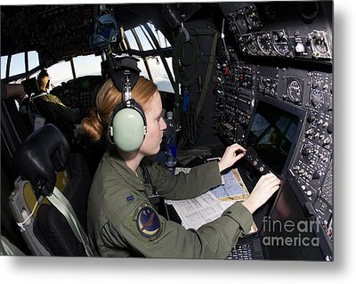 Navigator At Work In A Mc-130p Combat Metal Print