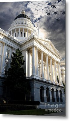 Navy Blue Angels Flying Over The California State Capitol . 7d11771 Metal Print by Wingsdomain Art and Photography
