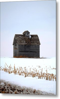 Nebraska Barn In Winter Metal Print by Christine Belt