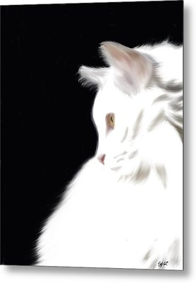 Negative Space Kitty Metal Print by Stacy Parker