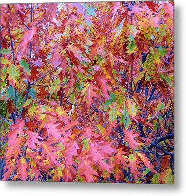 Neon Leaves Metal Print