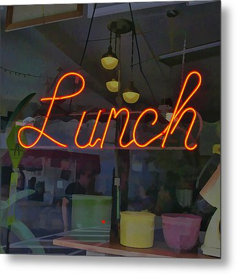 Neon Lunch Sign Metal Print by Michael Flood