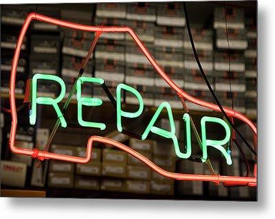 Neon Shoe Repair Sign Metal Print by Frederick Bass