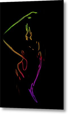 Neon Shower Girl Metal Print by Steve K