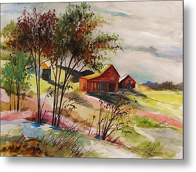 Nestled Nearby Barns Metal Print by John Williams
