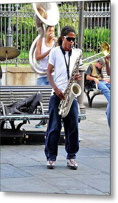 Metal Print featuring the photograph New Orlean's Musician by Helen Haw