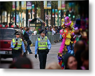 Metal Print featuring the photograph New Orleans Police At Mardi Gras by Jim Albritton