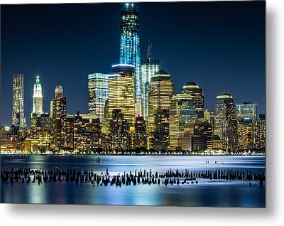 New Wtc And Remains Of Old Pier Metal Print