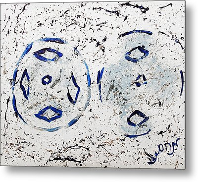 Metal Print featuring the painting New Year Rolls Around With Abstracted Splatters In Blue Silver White Representing Snow Excitement by M Zimmerman