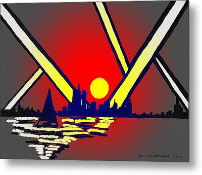 New York At Night Metal Print by Connie Valasco