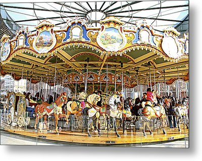 Metal Print featuring the photograph New York Carousel by Alice Gipson