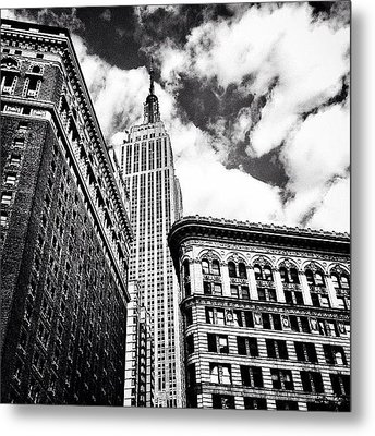 New York City - Empire State Building And Clouds Metal Print by Vivienne Gucwa