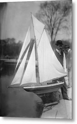 New York City, Man With Toy Yacht Metal Print by Everett