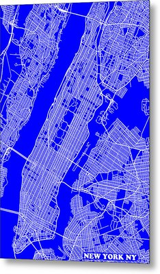 New York City Map Streets Art Print   Metal Print by Keith Webber Jr